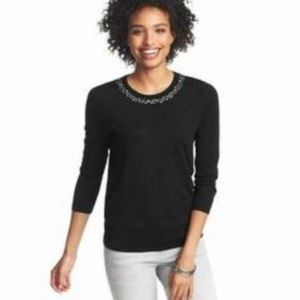 LOFT embellished necklace ribbon tieback sweater